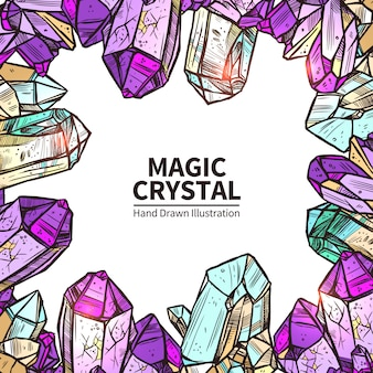Crystals hand drawn illustration