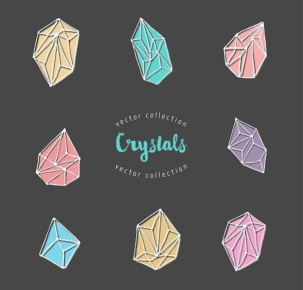 Кристаллы - нарисованные вручную современные, богемные и хипстерские элементы