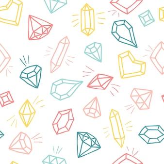 Кристаллы в мультяшном стиле. бесшовный образец ручной обращается эскиз алмазов и драгоценных камней в красочных цветах.