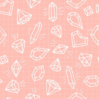 Crystals  seamless pattern on a pink checked background. hand drawn sketch diamonds and gemstones.