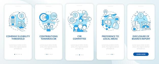 Csr 기본 파란색 온보딩 모바일 앱 페이지 화면입니다. 기업의 사회적 책임 연습은 개념이 포함된 5단계 그래픽 지침입니다. 선형 컬러 일러스트레이션이 있는 ui, ux, gui 벡터 템플릿