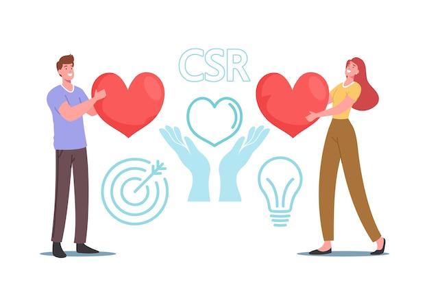 Csr, 기업의 책임, 사회적 시민권 비즈니스 개념. 자연과 식물의 거대한 붉은 심장 관리를 들고 작은 사업가 및 사업가 캐릭터. 만화 사람들 벡터 일러스트 레이 션