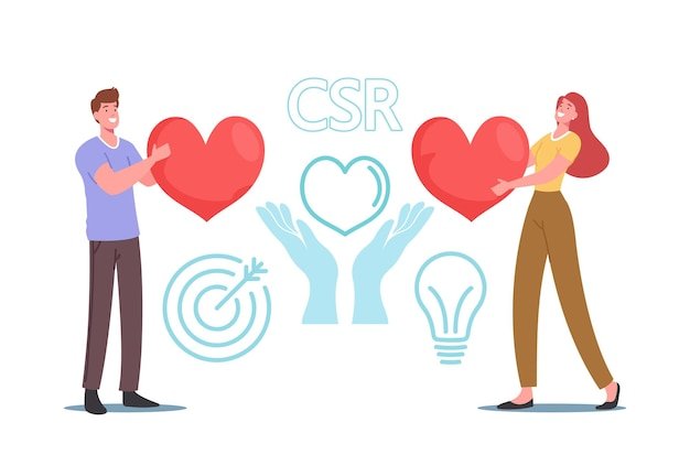 Csr, corporate responsibility, social citizenship business concept. tiny businessman and businesswoman characters holding huge red heart care of nature and plants. cartoon people vector illustration