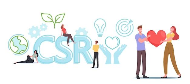Csr, бизнес-концепция корпоративной социальной ответственности. персонажи с сердцем в руках, бизнесмен, земной шар, завод. эко-модель внутренней организационной политики. мультфильм люди векторные иллюстрации