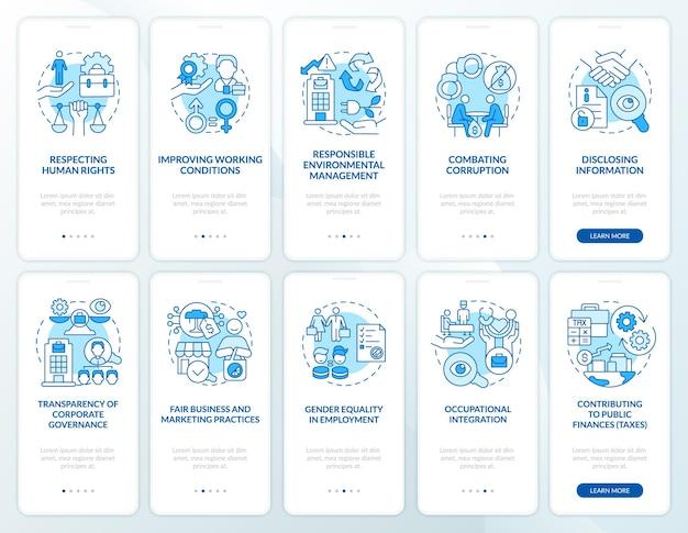 Csr 공격 블루 온보딩 모바일 앱 페이지 화면 세트. 작업장에서의 권리 개념이 포함된 5단계 그래픽 지침입니다. 선형 컬러 일러스트레이션이 있는 ui, ux, gui 벡터 템플릿