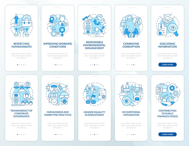 Csr offence blue onboarding mobile app page screen set. rights at workplace walkthrough 5 steps graphic instructions with concepts. ui, ux, gui vector template with linear color illustrations