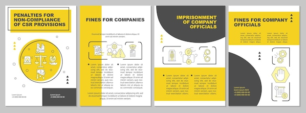 Csr penalties yellow brochure template. breach consequences. flyer, booklet, leaflet print, cover design with linear icons. vector layouts for presentation, annual reports, advertisement pages