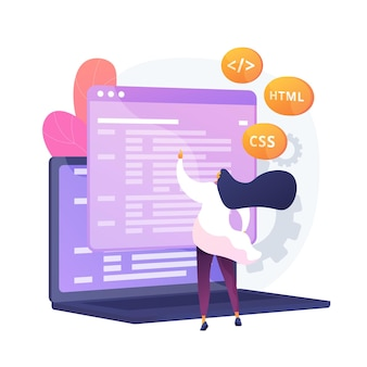 Css and html programming languages. computer programming , coding, it. female programmer cartoon character. software, website development. vector isolated concept metaphor illustration.