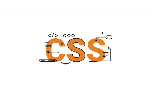 Css word lettering typography design illustration with line icons and ornaments in orange