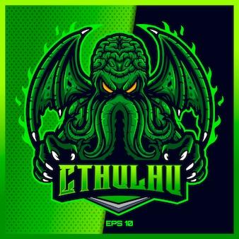Зеленый cthulhu захватывает текст esport и дизайн логотипа талисмана спорта в современной концепции иллюстрации для печати значка команды, эмблемы и жажды. сумашедшая иллюстрация cthulhu на зеленой предпосылке. иллюстрация