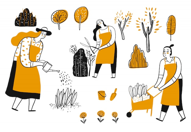 Ctivity of people in the gardening.