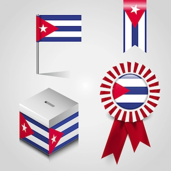Cuba country flag set