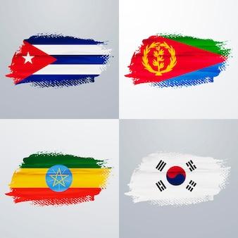 Cuba, eritrea, ethiopia and south korea flags pack