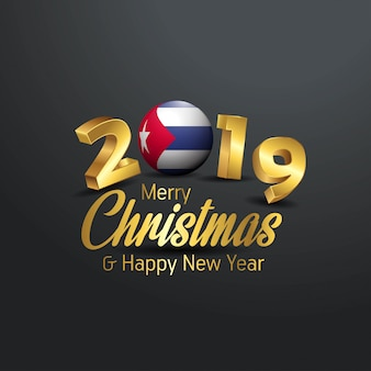 Cuba flag 2019 merry christmas typography