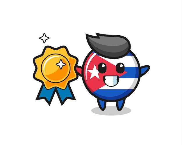 황금 배지를 들고 있는 쿠바 국기 배지 마스코트 그림, 티셔츠, 스티커, 로고 요소를 위한 귀여운 스타일 디자인