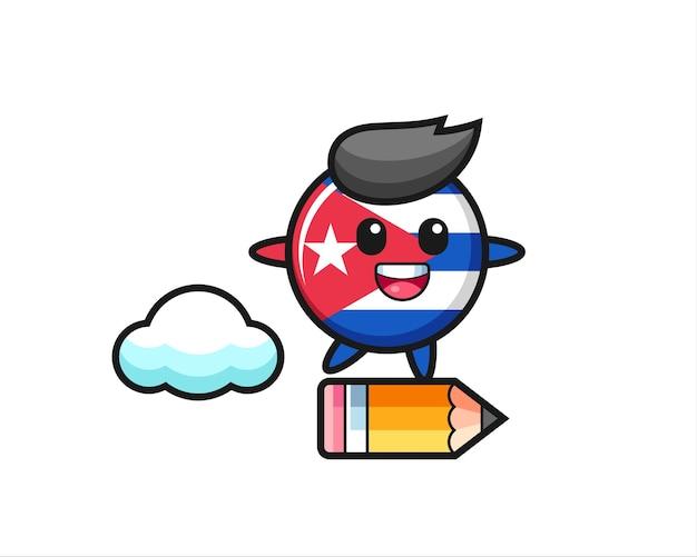 거대한 연필을 타고 쿠바 국기 배지 마스코트 그림, 티셔츠, 스티커, 로고 요소를 위한 귀여운 스타일 디자인