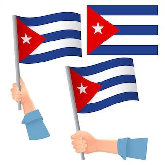 Cuba flag in hand set