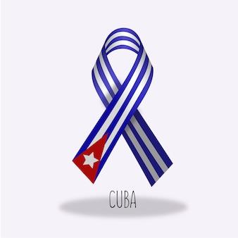 Cuba flag ribbon design