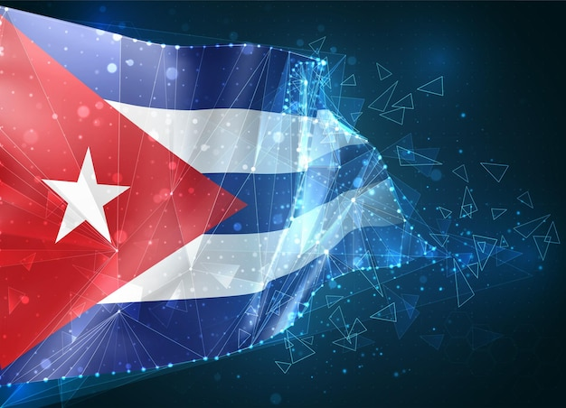 Cuba,  flag, virtual abstract 3d object from triangular polygons on a blue background
