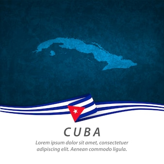 Cuba flag with central map