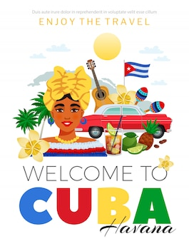 Cuba and havana travel poster