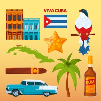 Cuba landmarks and cultural symbols