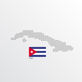 Cuba map design with flag and light background vector