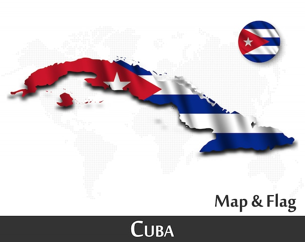 Cuba map and flag . waving textile design . dot world map background .