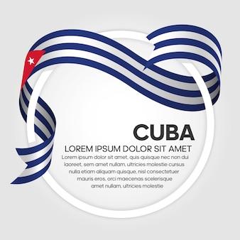 Cuba ribbon flag, vector illustration on a white background