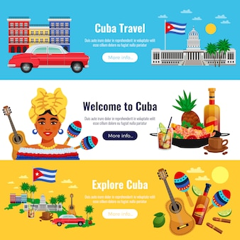 Cuba travel horizontal banners set with landmarks elements flat isolated vector illustration
