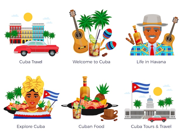 Cuba travel icons set