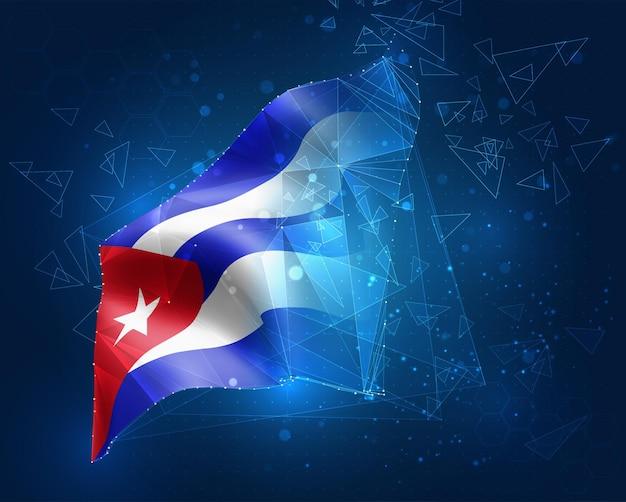 キューバ、ベクトルフラグ、青い背景の三角形のポリゴンからの仮想抽象3dオブジェクト