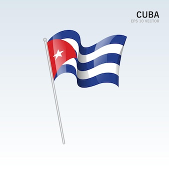 グレーに分離された旗を振っているキューバ