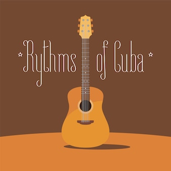 Cuban acoustic guitar  illustration