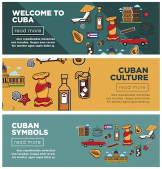 Cuban culture and symbols promotional internet banners set