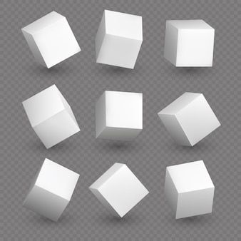 Cube 3d models in perspective. realistic white blank cubes with shadows isolated