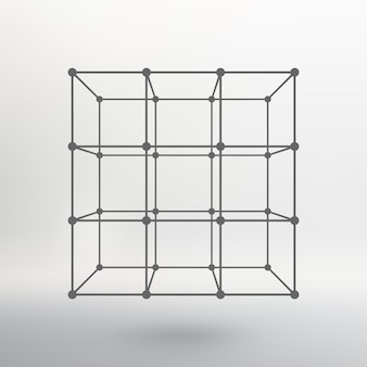 Cube of lines and dots. cube of the lines connected to points. molecular lattice. the structural grid of polygons. white background. the facility is located on a white studio background.