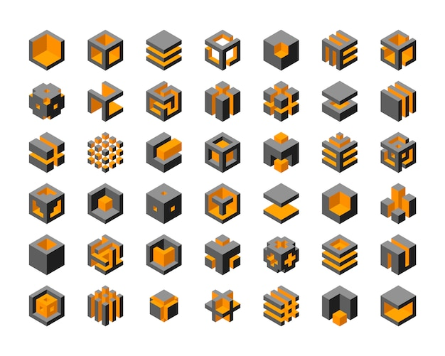 Cube logo design.  cubes 3d set template graphic elements.