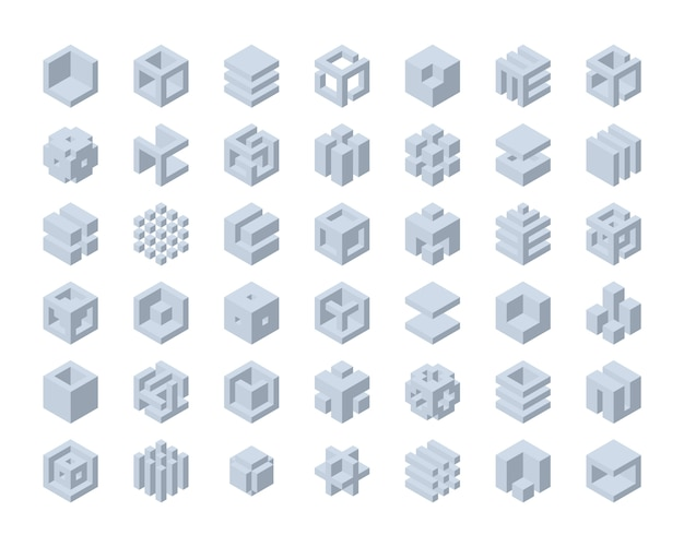Набор логотипов cube