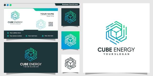 Cube logo with modern energy line art style premium vector