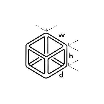 큐브 모델 측정 손으로 그린 개요 낙서 아이콘입니다. 모델 빌드 크기, 3d 큐브 빌드 볼륨 개념