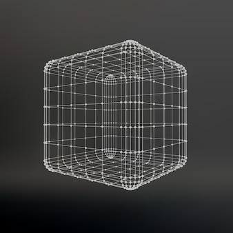 線と点の立方体。ポイントに接続された線の立方体。分子格子。ポリゴンの構造グリッド。黒の背景。施設は黒いスタジオの背景にあります