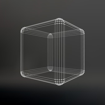 線と点の立方体。ポイントに接続された線の立方体。分子格子。ポリゴンの構造グリッド。黒の背景。施設は黒いスタジオの背景にあります。