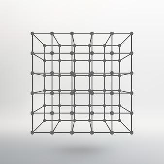 Куб из линий и точек. куб из линий, соединенных с точками. молекулярная решетка. структурная сетка полигонов. белый фон. объект расположен на белом фоне студии.