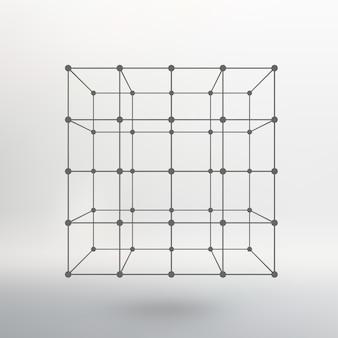 線と点の立方体。ポイントに接続された線の立方体。分子格子。ポリゴンの構造グリッド。白色の背景。施設は白いスタジオの背景にあります。