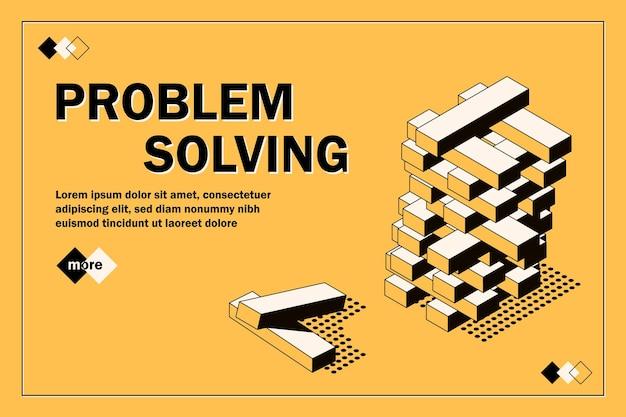 Куб головоломки решение решения проблемы концепция баннер вектор концепции дизайна