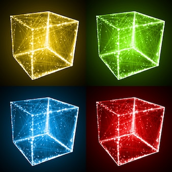 Cube shape with abstract lines