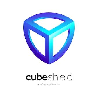Cube shield logo design