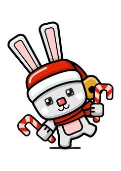 큐브 스타일 귀여운 크리스마스 토끼 들고 사탕 지팡이