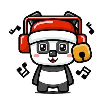 큐브 스타일 헤드폰을 쓰고 귀여운 크리스마스 팬더